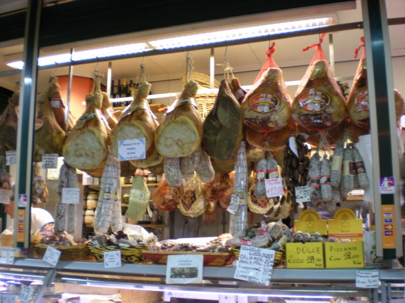 Various types of dried and cured meats