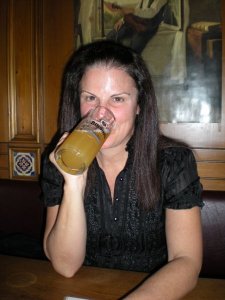 Mary enjoying a beer