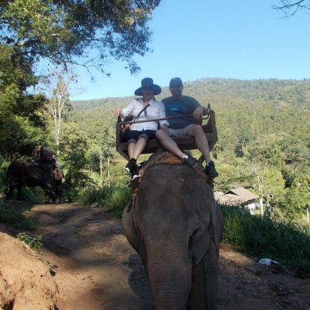 Guy and I on an elephant ride