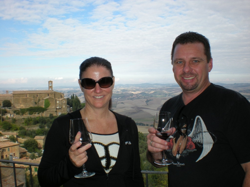 Guy and Mary wine tasting