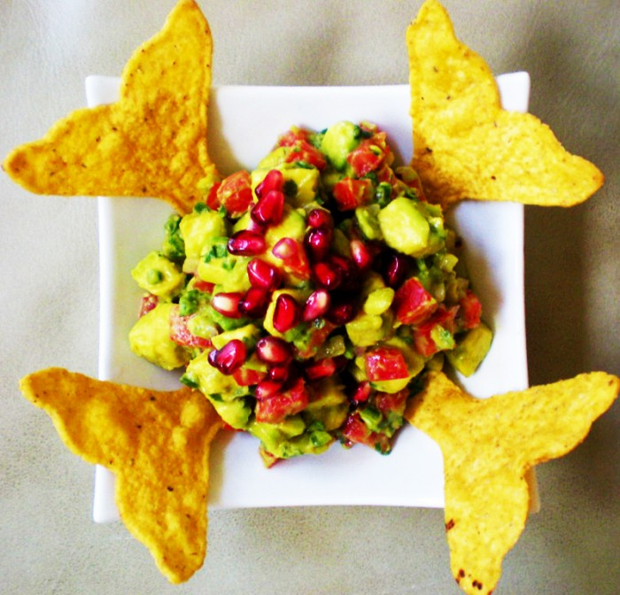 Guacamole with pomegranite garnish