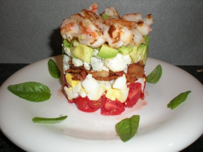 Post image for STACKED SHRIMP COBB SALAD WITH LEMON VINIAGRETTE