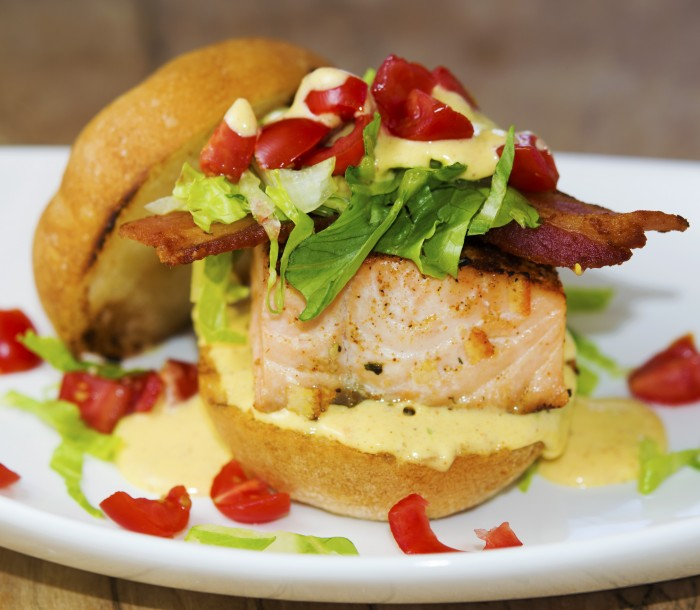 Berbere spiced salmon slider