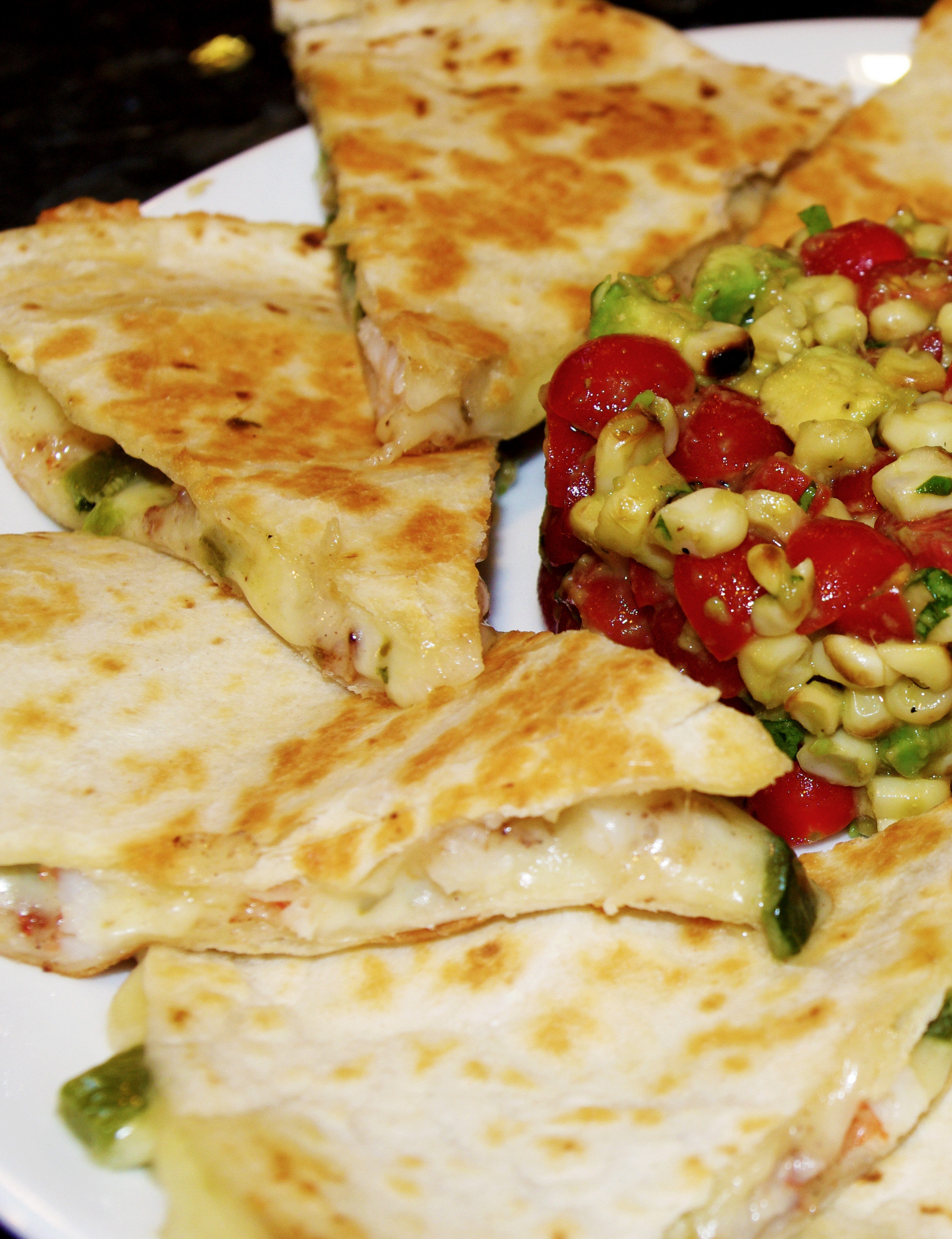 CHINESE FIVE SPICE SHRIMP QUESADILLAS WITH CORN SALSA - Skinny ...