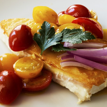 Pan Fried Halibut with Cherry tomatoes and mustard sauce